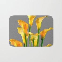 DECORATIVE GOLDEN CALLA LILY FLOWERS ON GREY ART Bath Mat