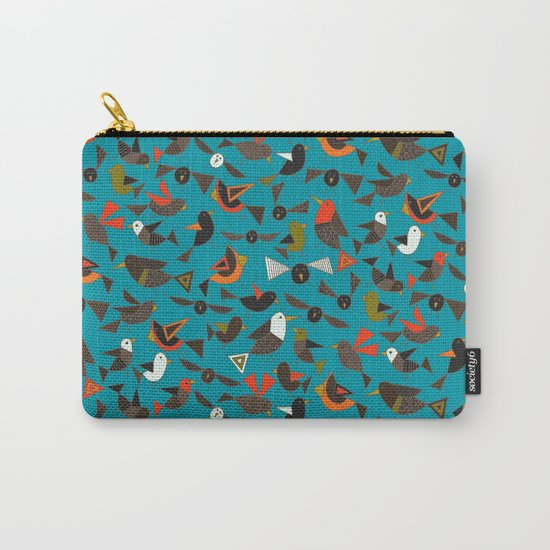 just birds teal blue Carry-All Pouch