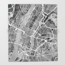 New York City Street Map Throw Blanket