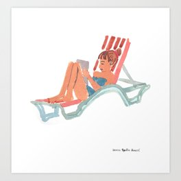 Girl with i pad on holidays Art Print