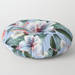 Hawaii, tropical hibiscus vintage style blue dream palm leaves Floor Pillow