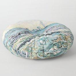 12,000pixel-500dpi - Vincent van Gogh - Snow-Covered Field with a Harrow - Digital Remaster Floor Pillow