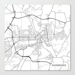 Sherbrooke Map, Canada - Black and White Canvas Print