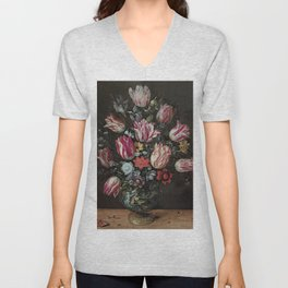 Vase with Tulips - Frans Francken the Younger Unisex V-Neck