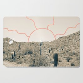Wonder Rift // Abstract Vintage Mountains Summer Sun Surfer Beach Vibes Drawing Happy Wall Decor Cutting Board