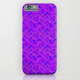 Stylish design with interlaced circles and violet rectangles of stripes. iPhone Case