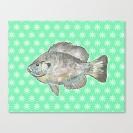 Bluegill and Green Wallpaper Design Canvas Print