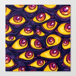 Wall of Eyes in Dark Purple Canvas Print