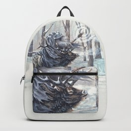 Wizard Riding an Elk in the Snow Backpack