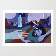 Joseph Sticks with Mary (by Lily Padula) Art Print