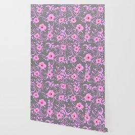 DECORATIVE  PINK AMARYLLIS BROCADE FLORAL GREY ART Wallpaper
