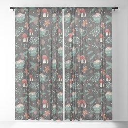 Cottagecore Christmas Black Sheer Curtain