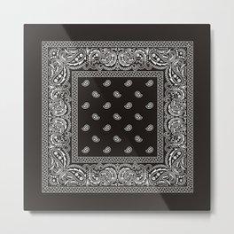Paisley - Bandana - Black -  Southwestern Metal Print
