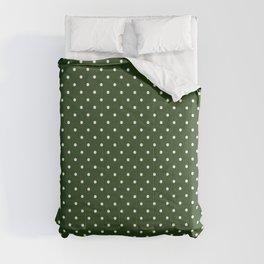 Small White Polka Dot Spots on Dark Forest Green Comforters