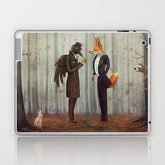 Raven and Fox in  a dark forest looking at the watch Laptop & iPad Skin
