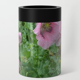 Poppies in rain Can Cooler