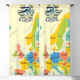 Retro Map Of Europe. Blackout Curtain