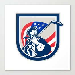 American Patriot Ice Hockey Shield Canvas Print