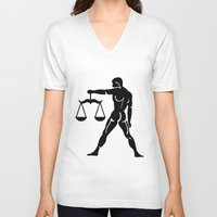 libra V-neck T-shirts featuring Libra by PSimages
