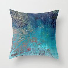 On the verge of Blue Throw Pillow
