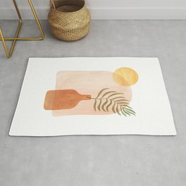 Abstract vase and plant Rug
