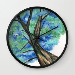 Blue Green Tree Wall Clock