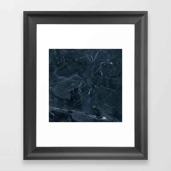 Dark blue marble texture Framed Art Print
