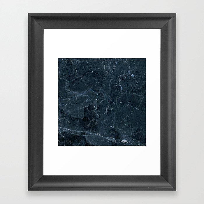 Dark blue marble texture Framed Art Print