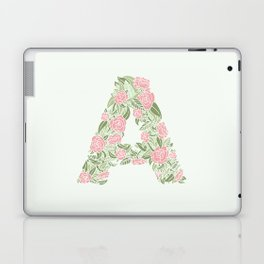 Floral Type - Letter A - Cream and Pink Laptop & iPad Skin