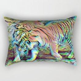 Neon Tigers Kissing // Photo Abstract Artwork Rectangular Pillow