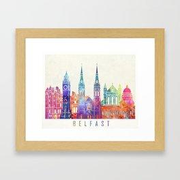 Belfast landmarks watercolor poster Framed Art Print