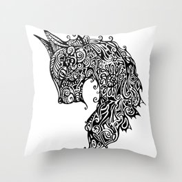 Graphic stylized cat Throw Pillow