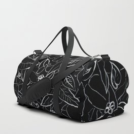White ink, black card board. Graphic art, ink spring flowers Duffle Bag
