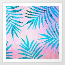 Refreshing Geometric Palm Tree Leaves Tropical Chill Design Art Print