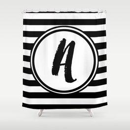 A Striped Monogram Shower Curtain