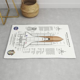 NASA Space Shuttle Blueprint in High Resolution (white)  Rug