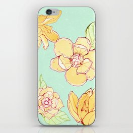 Summer flowers blue iPhone Skin