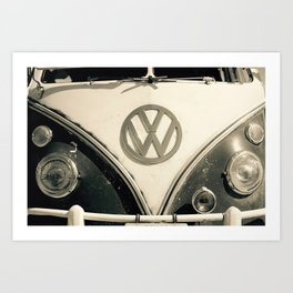 Classic Hipster Van, Photo, Black and White Art Print