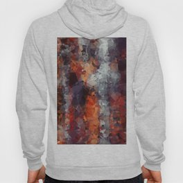 psychedelic geometric polygon shape pattern abstract in orange brown red black Hoody