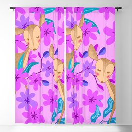 Cute wild sweet little baby deer fawns lost in the forest of delicate pink flowers illustration. Blackout Curtain