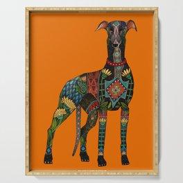 greyhound orange Serving Tray