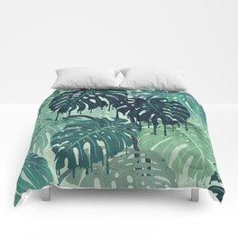 Monstera Melt (in Green) Comforters