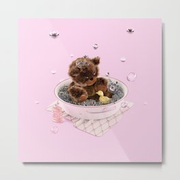 Bath Time Teddy - Pink Metal Print