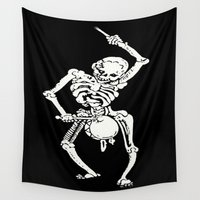 drum Wall Tapestries featuring Zombie Undead Skeleton Marching and Beating A Drum  by taiche