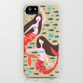 Mermaids on Kraft iPhone Case