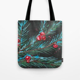 Christmas Tree Branch, Snowy Winter Berries, Contemporary Art Tote Bag