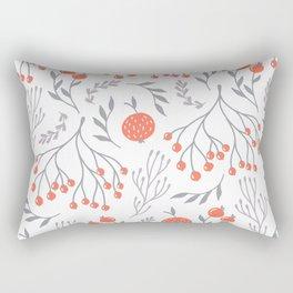 Red Berry Floral Rectangular Pillow