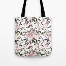 Blush rose pink green watercolor elegant floral Tote Bag