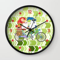 coraline Wall Clocks featuring Ernest and Coraline | Tandem biking by Hisame Artwork