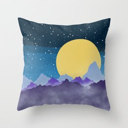 Misty Mountains Moon and Stars Throw Pillow
